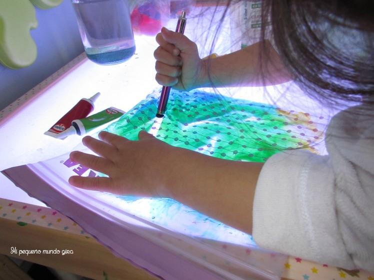 mesa luz gel colores