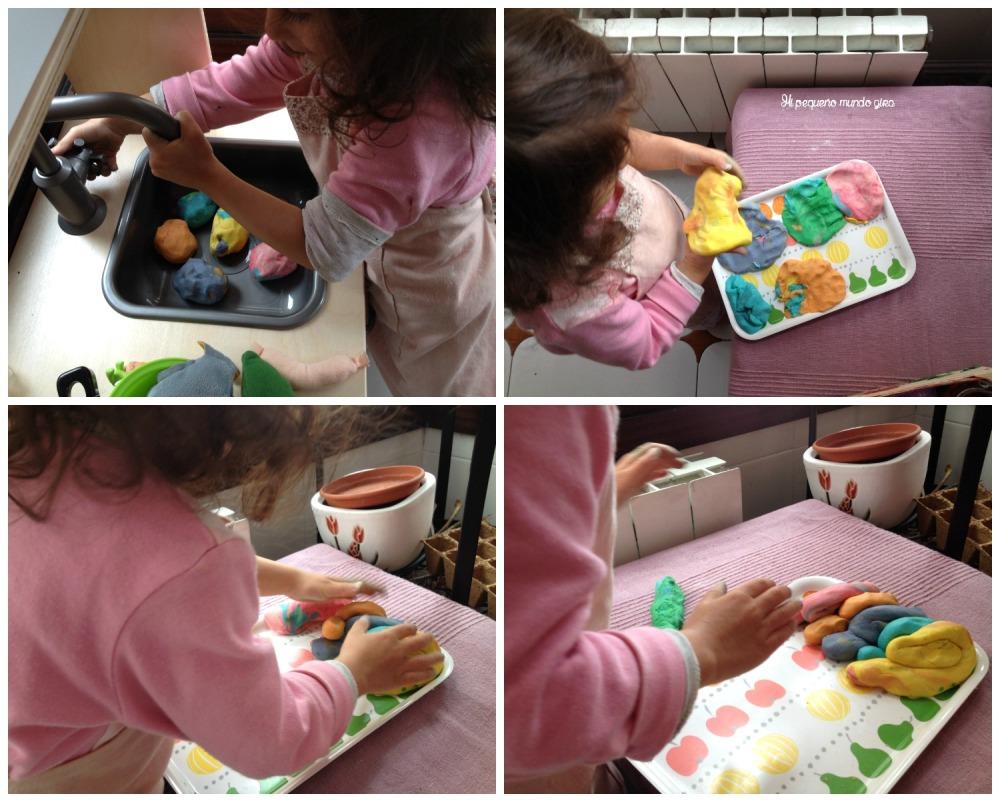 hacer plastilina casera colores