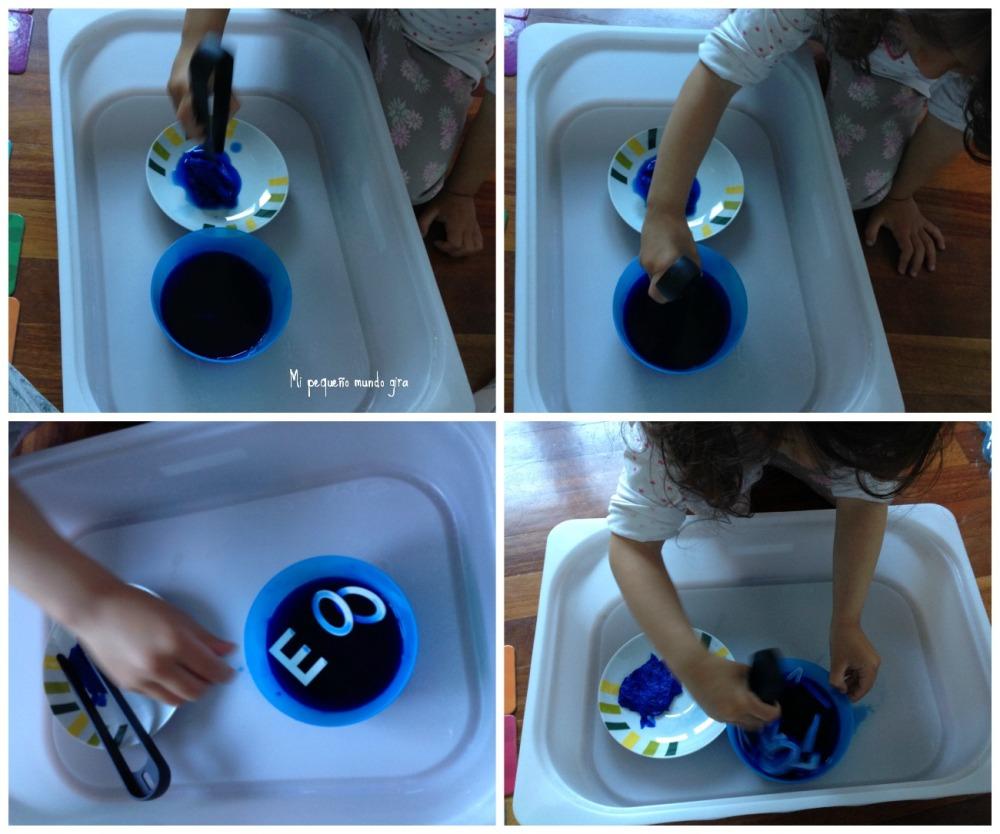 teñir letras azul