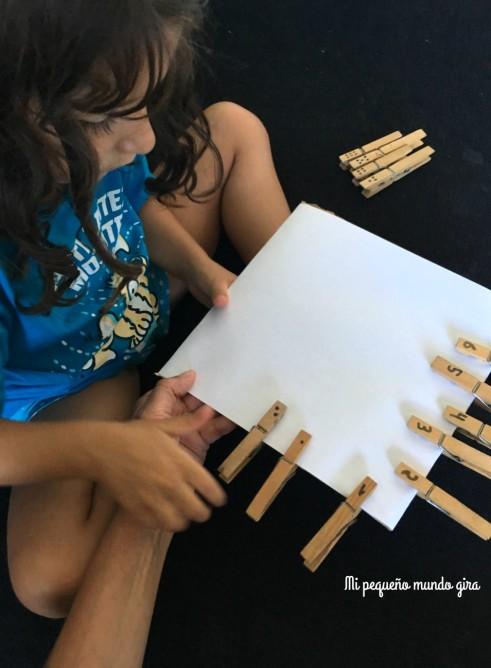aprender a contar con pinzas