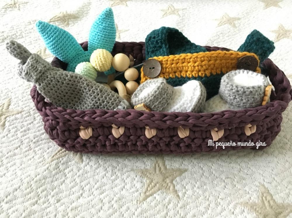 cesta para bebe a ganchillo
