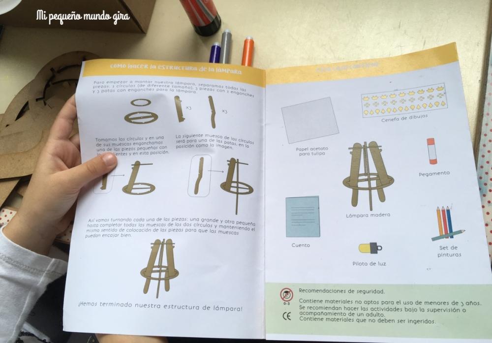 libro de instrucciones para montar la lampara