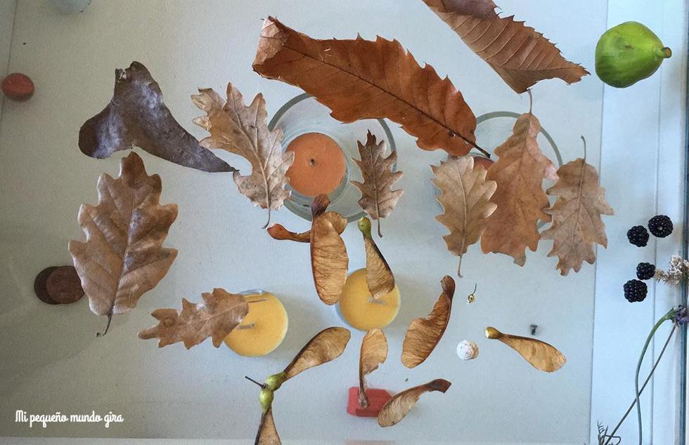 hojas,bellotas y elementos de otoño